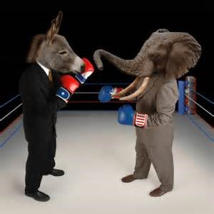 The Democrats and Republicans battle it out for political power.