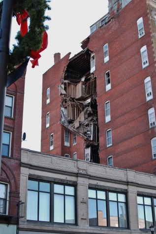 The partial collapse of the Essex House.