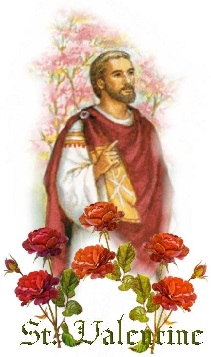 St. Valentine, seen here, chucking up the ones to his fellow