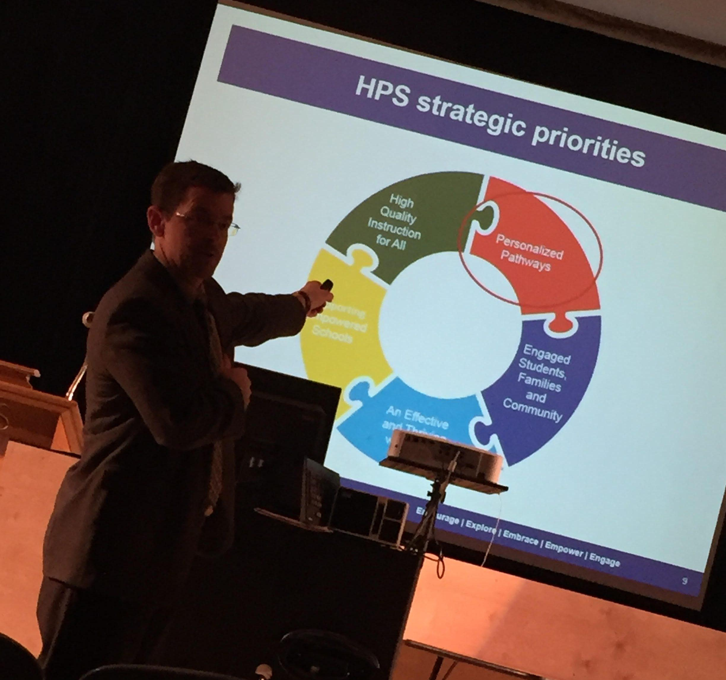 Executive Director of Secondary Education Mickey Buhl presents the HPS redesign plan.