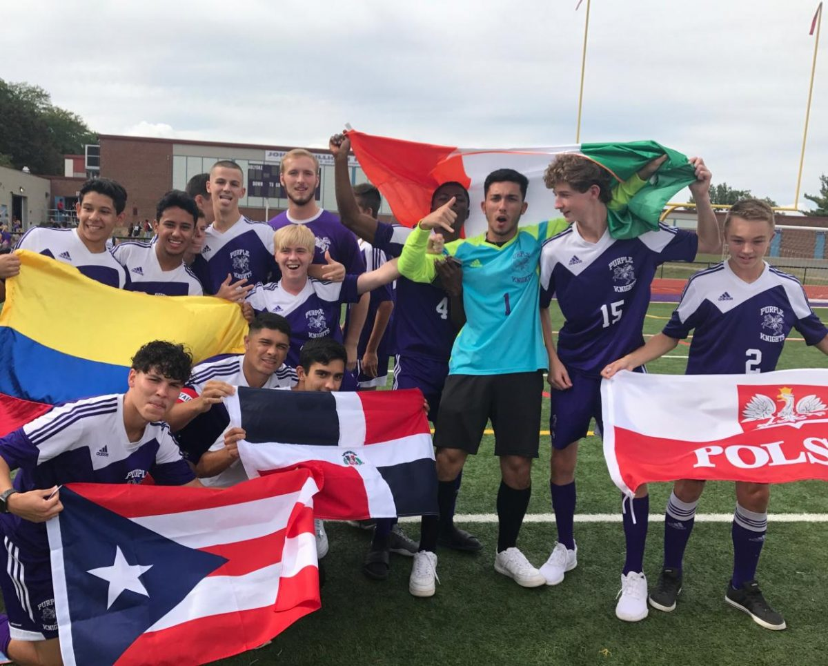 Soccer holds flags
