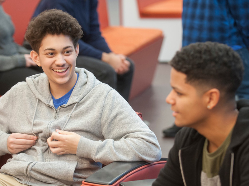 Two HHS students enrolled in The Westfield Promise enjoy their time on the University campus.