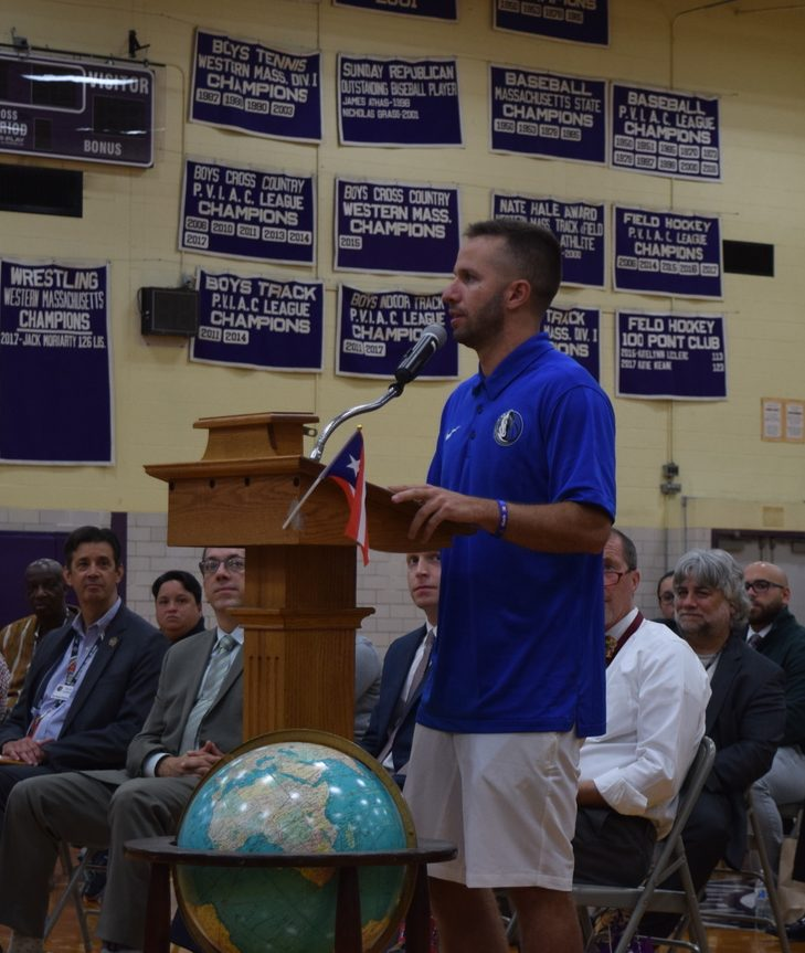 J.J. Barea speaking to Holyoke High School students